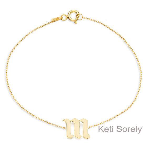 10k 14k 18k Solid Gold Or Sterling Silver Handmade Gothic Initial Bracelet Or Anklet Order Any Initials Yello Initial Bracelet Solid Gold Handmade Silver