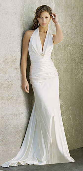 Simple Halter Wedding Dress For Second Elegant