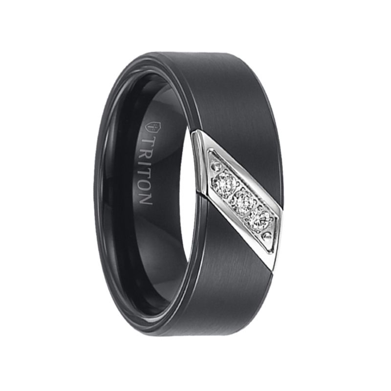 Tungsten carbide wedding bands with diamonds