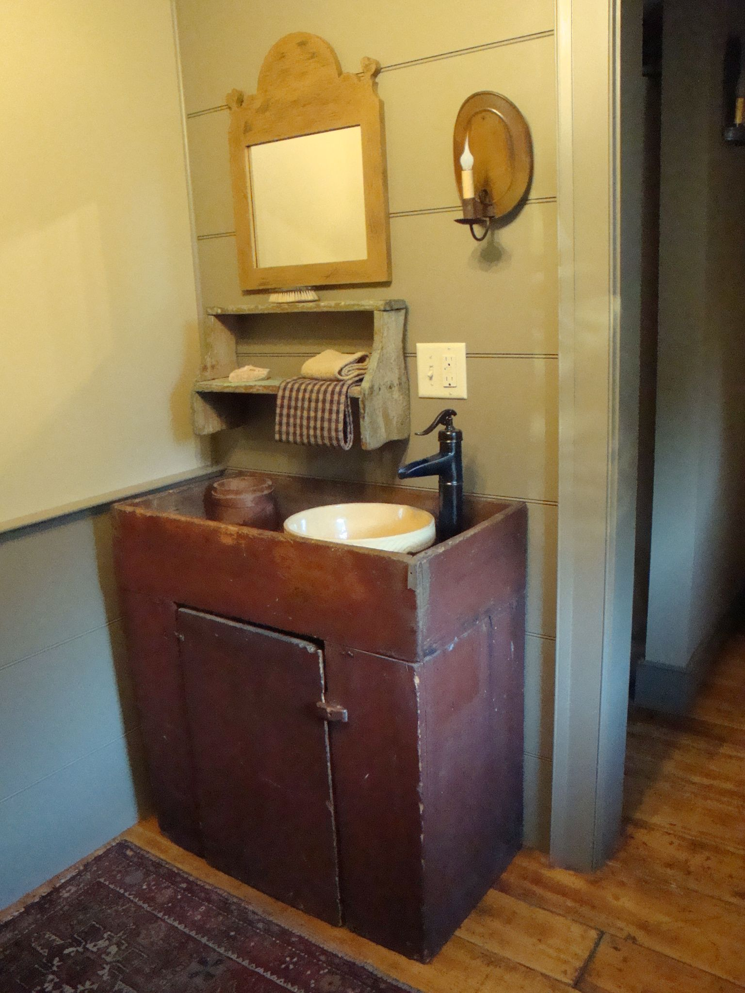 Upstairs Bath Primitive Country Bathrooms Primitive Bathrooms Dry Sink