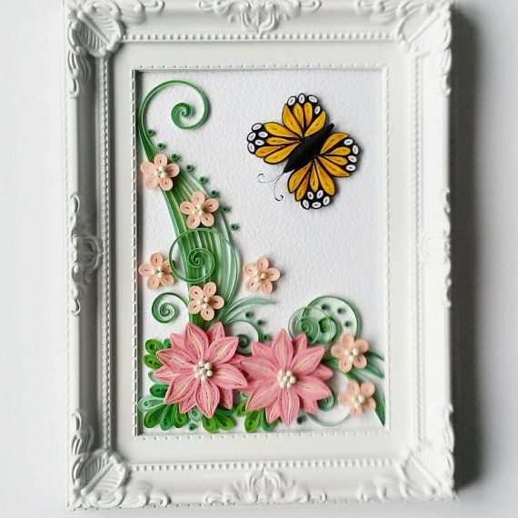 Quilled Paper Art With Flowers Home Decor Framed By Gericards