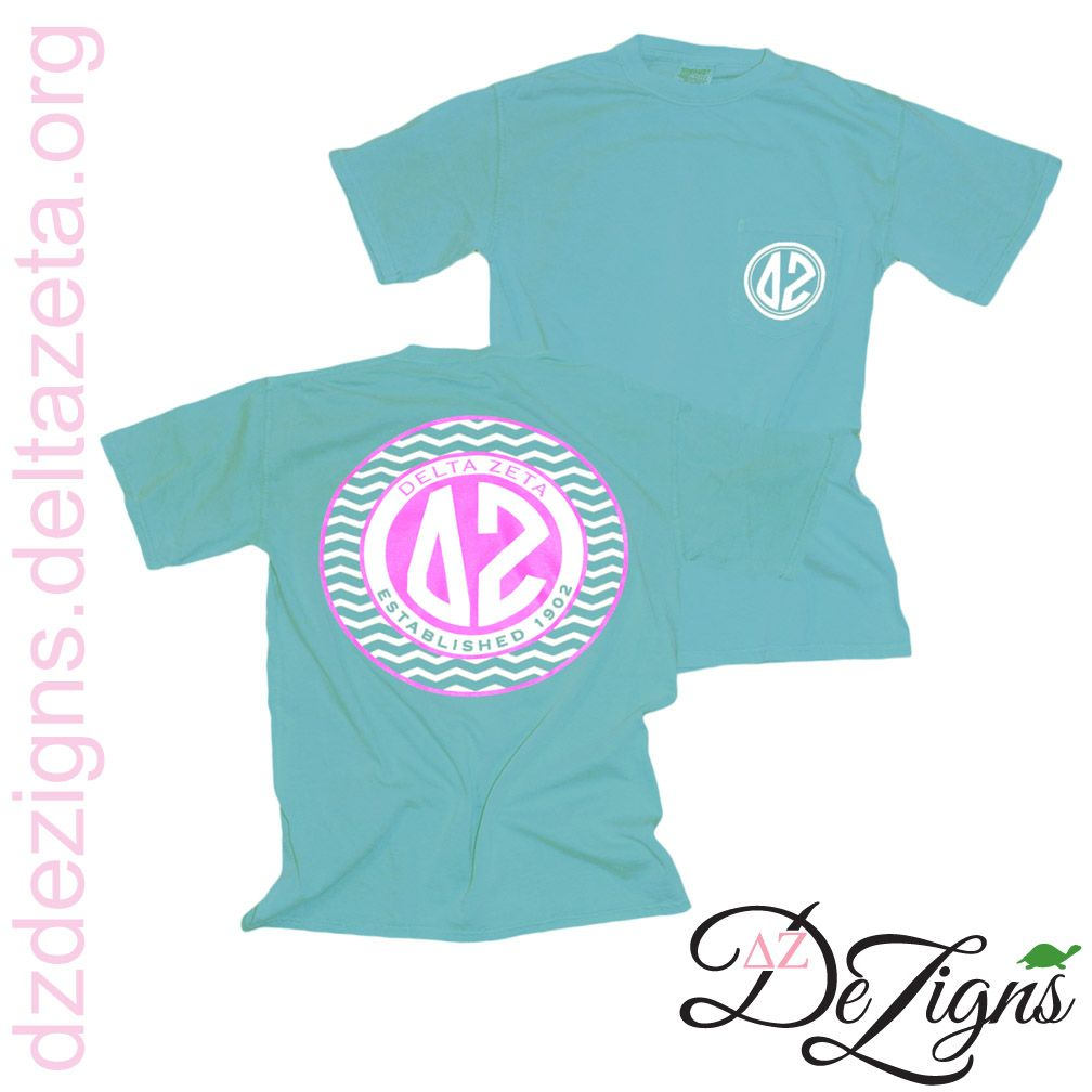 A new favorite at DZ DeZigns is this Delta Zeta chevron & monogram styled pocket t!