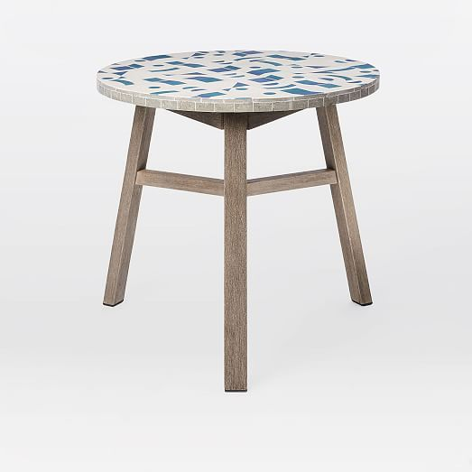 Mosaic Tiled Outdoor Bistro Table Two Tone Geo West Elm Bistro Table Outdoor Patio Decor Outdoor Patio Furniture Sets