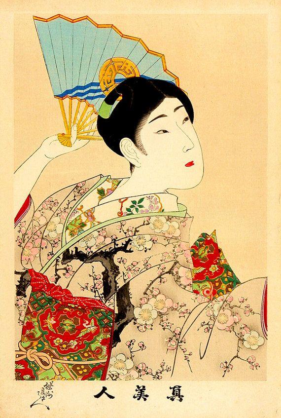 Geisha with a fan, japanese art, geishas paintings and woodblock ...