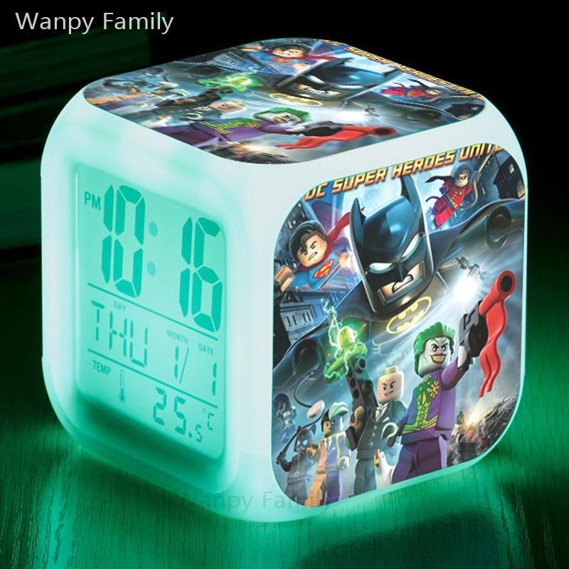 Superhero Batman Comics Alarm Digital Clock LED Light Night Glowing Color Change