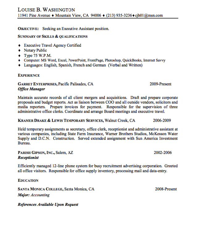 Resume Sample For Executive Assistant Examples Resume Cv Executive Assistant Resume Resume Cv
