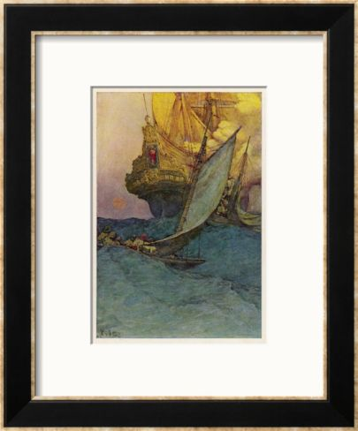 pirates of the west indies | Pirates Attacking a Spanish Galleon in the West Indies Framed Giclee ...