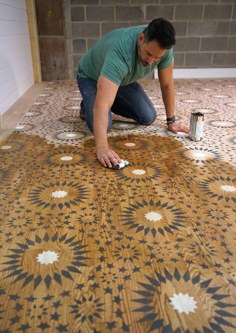 Stencil Moroccan Pattern Wood Floor Painted
