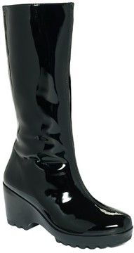 Cute black patent rain boots