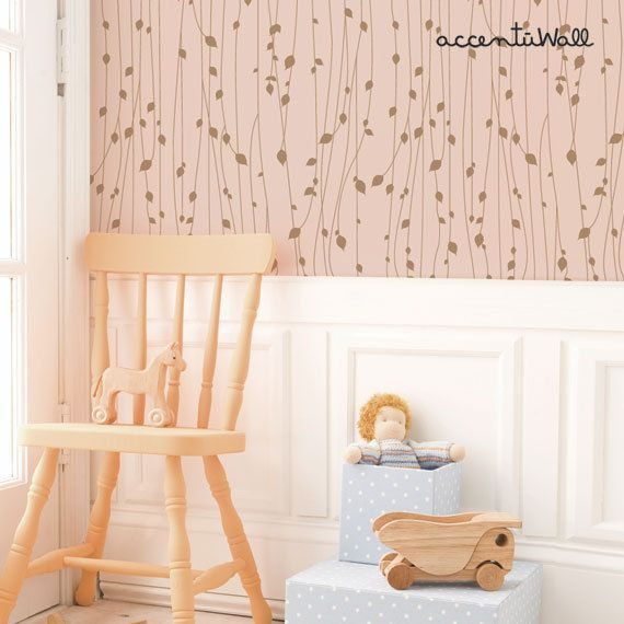 Calculate Wallpaper For One Wall: Leaves Pink Peel & Stick Fabric Wallpaper Repositionable