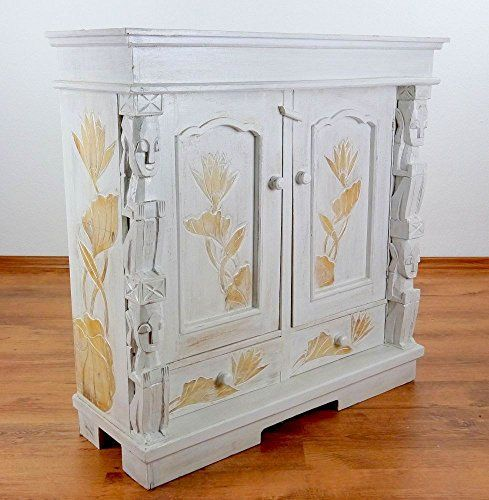 Country House Style Wall Cabinet Cupboard Floating Shelf Handmade In Bali White