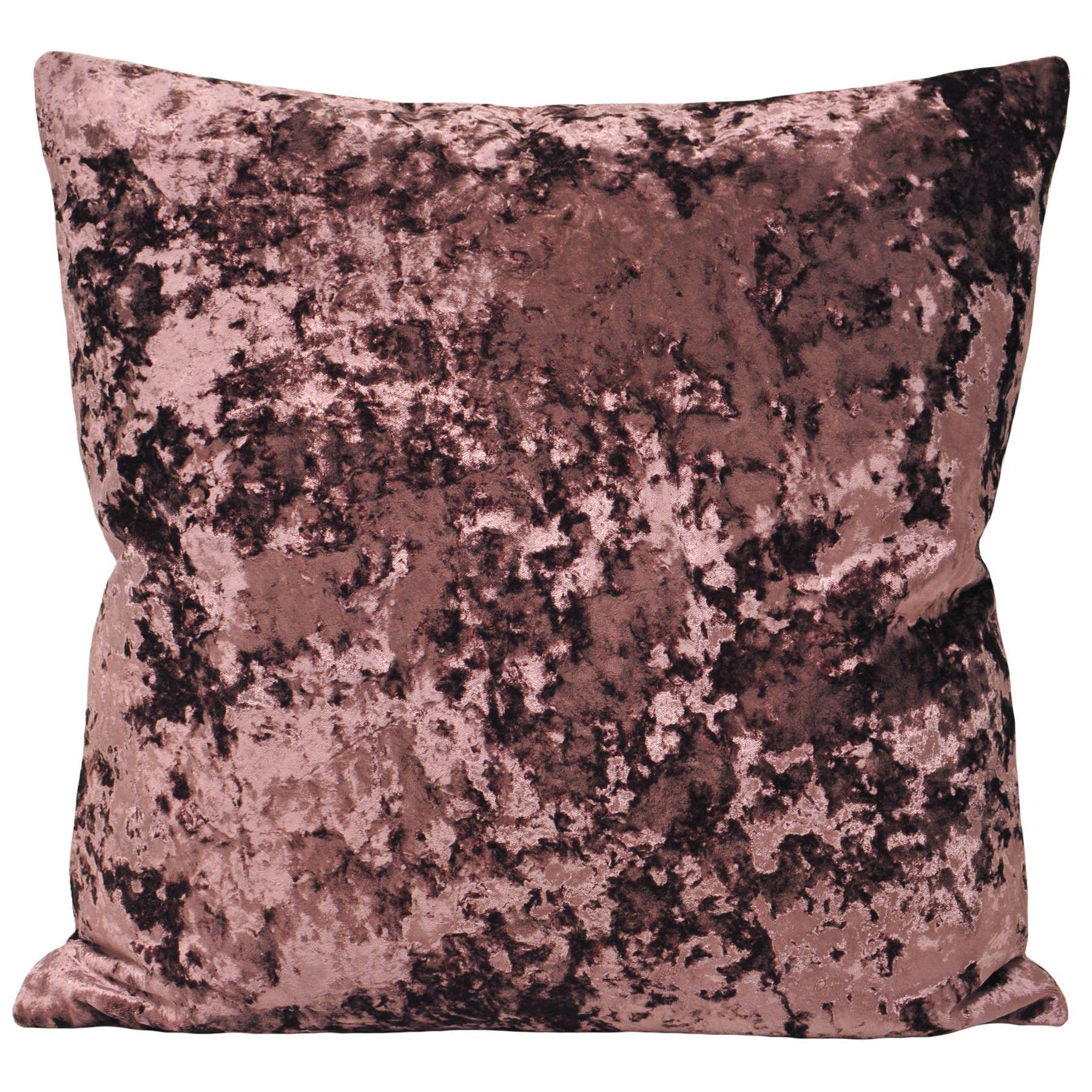 Riva Paoletti Roma Crushed Velvet Cushion Aubergine Velvet