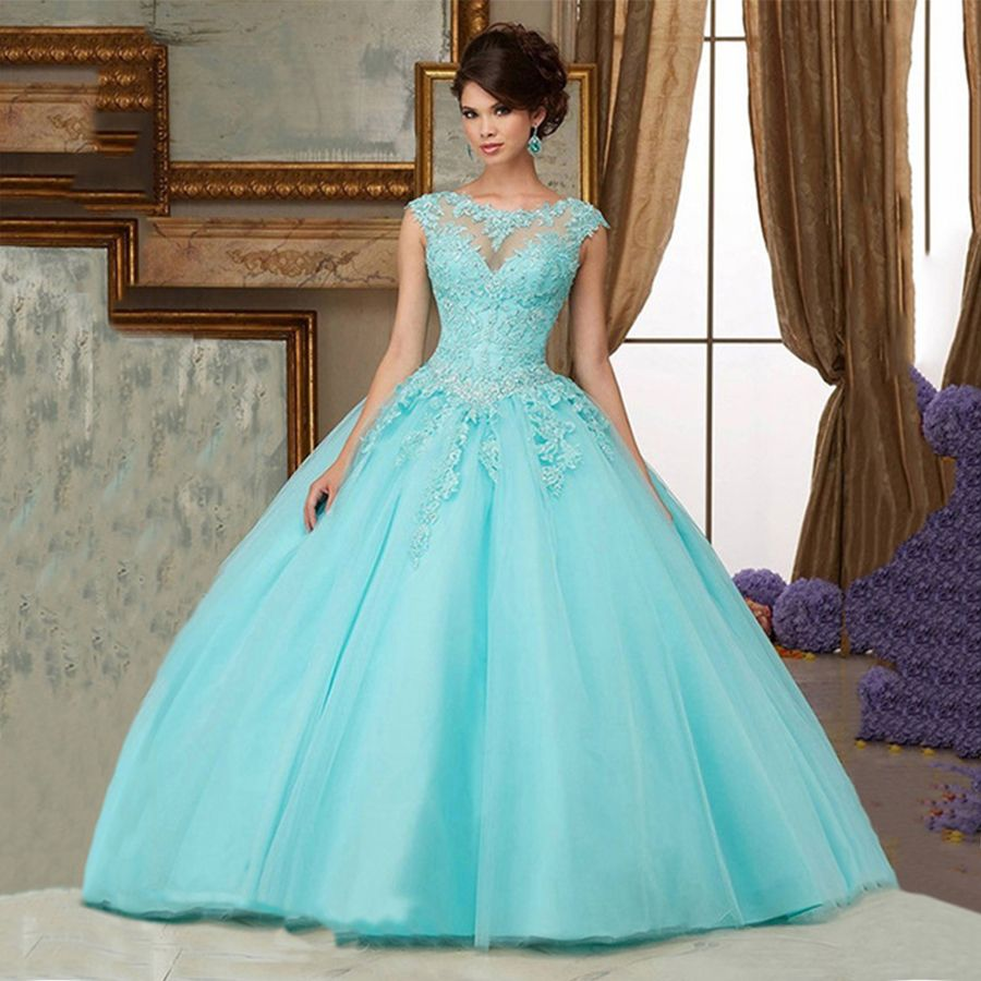 Click to Buy << Light Mint Green Sweet 16 Dresses Cheap Masquerade ...