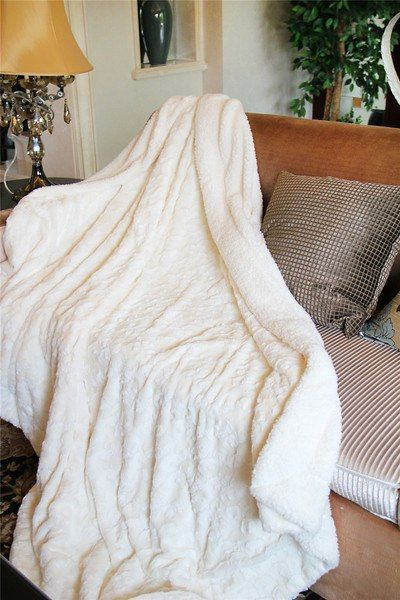 luxury warm Faux Fur Throw Fleece Soft Blanket for home Bed and sofa from