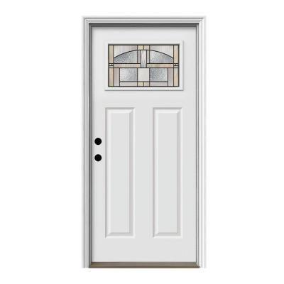 Jeld Wen 36 In X 80 In 1 Lite Craftsman Portage Primed Steel Prehung Right Hand Inswing Front Door W Brickmould Thdqc228200042 The Home Depot In 2020 Craftsman Style Doors Front Doors With Windows