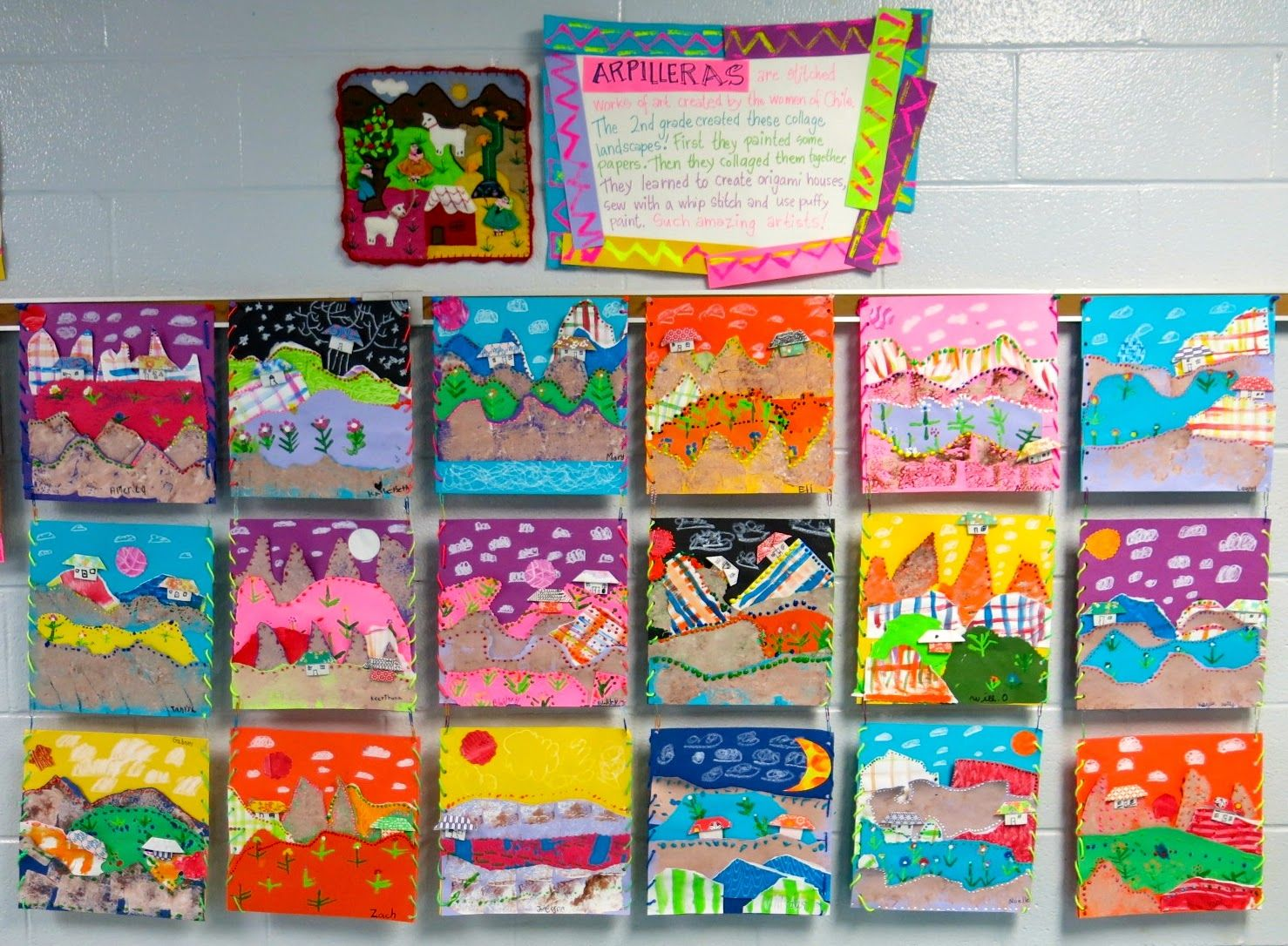 Cassie stephens in the art room second grade collage for Landscape art projects