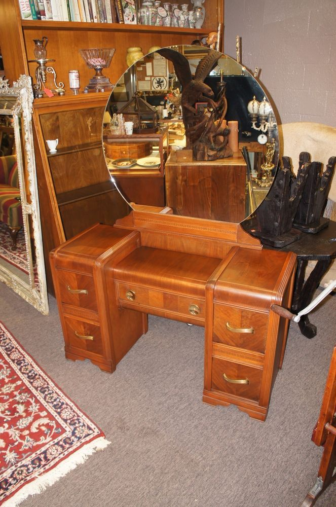 Antique Waterfall Vanity Huntingburg Furniture Art Deco Bedroom