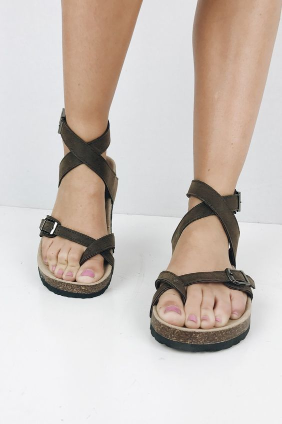 8db6106b9f71 Birkenstock inspired fun sandal with an adjustable ankle strap and toe  loop. Cork footbed supports