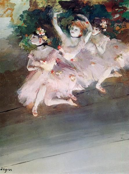 Three Ballet Dancers, 1879 by Edgar Degas. Impressionism. genre painting. Private Collection