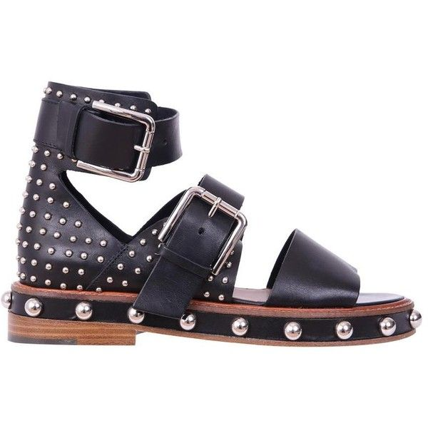 503ef9b28357 Red Valentino Studded leather sandals (44.135 RUB) ❤ liked on Polyvore  featuring shoes