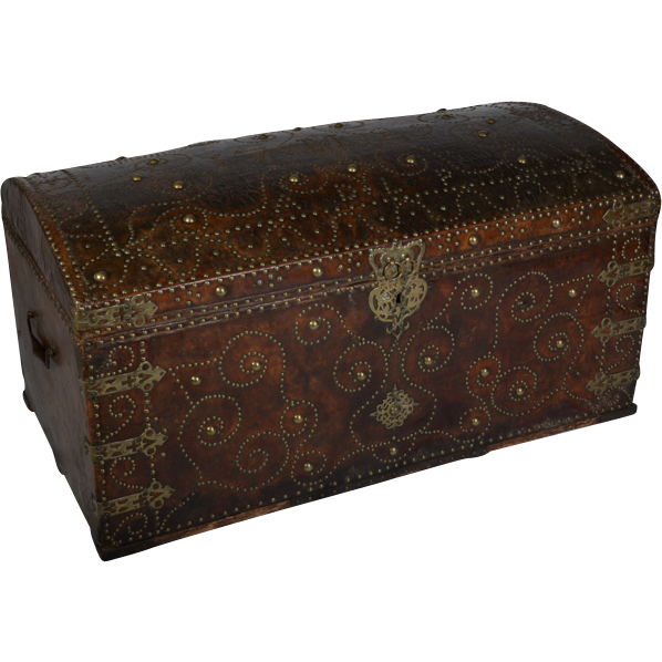 Antique Leather Bound And Studded Trunk