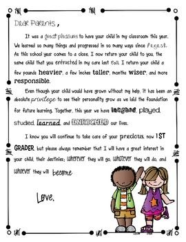 Teach It With Class End Of The Year Parent Letter  School