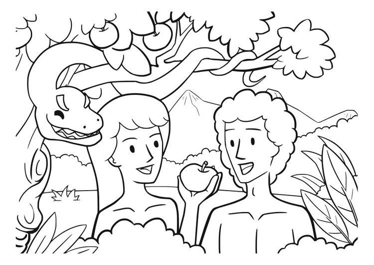 Dibujo Para Colorear Adan Y Eva Adan Y Eva Paginas Para Colorear De Biblia Artesania Biblica