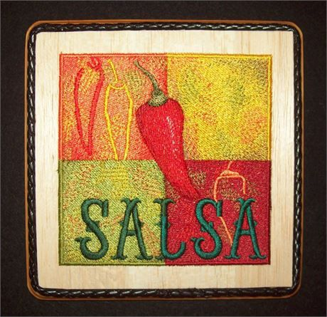 This Chili Pepper Embroidery Wood Art Southwestern Kitchen Wall ...