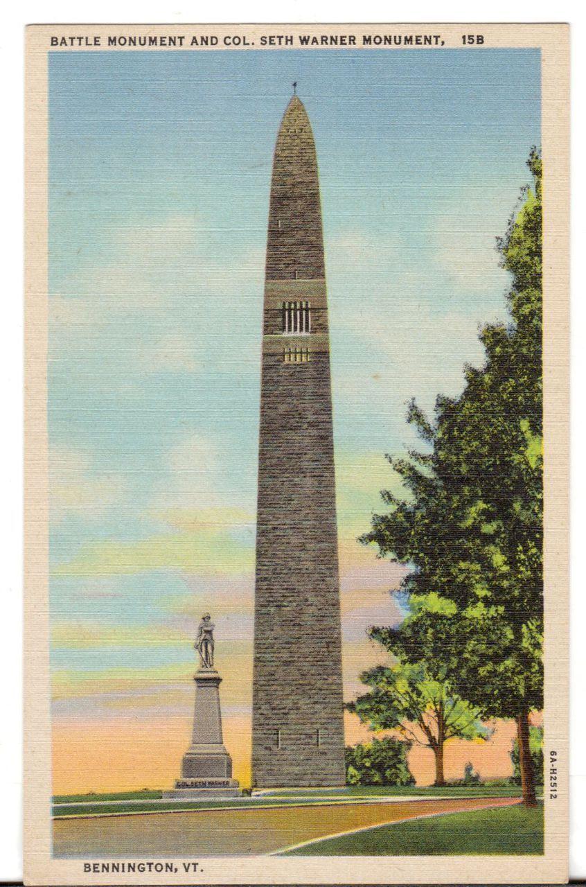 Undated Unused Postcard Battle Monument and Col. Seth Warner Bennington Vermont VT - Advintage Plus