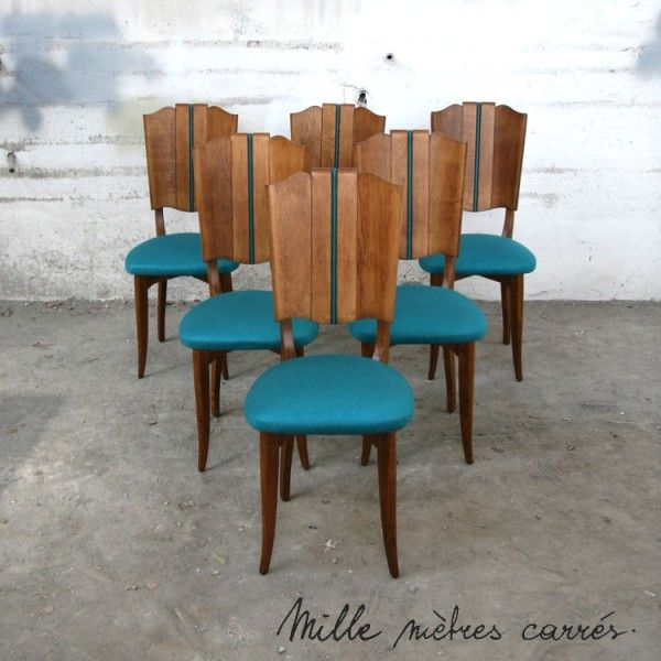 Lot De 6 Chaises Vintage Turquoise Mille M2 Outdoor Chairs Chair Furniture