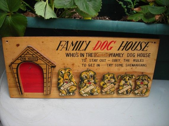Vintage Wooden Wall Plaque 1950s Family Dog House Wall Art Dogs