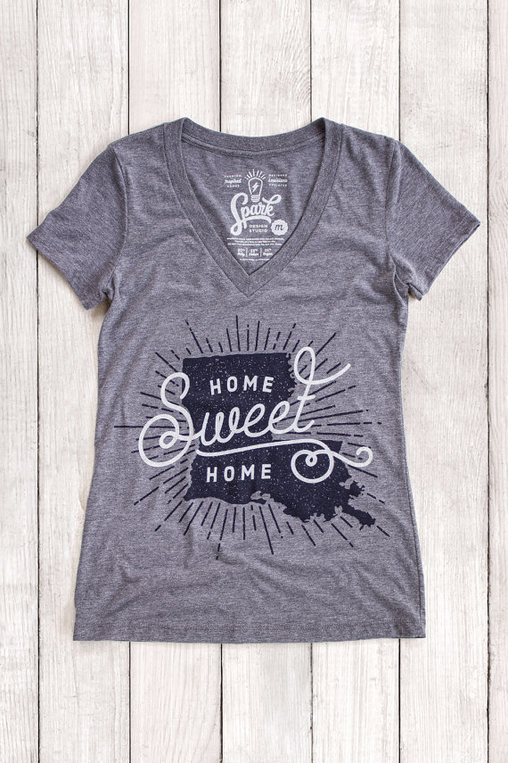 Spark Design Studio | Home Sweet Home Louisiana | State Pride Shirt | Gray  Graphic Womenu0027s Part 80