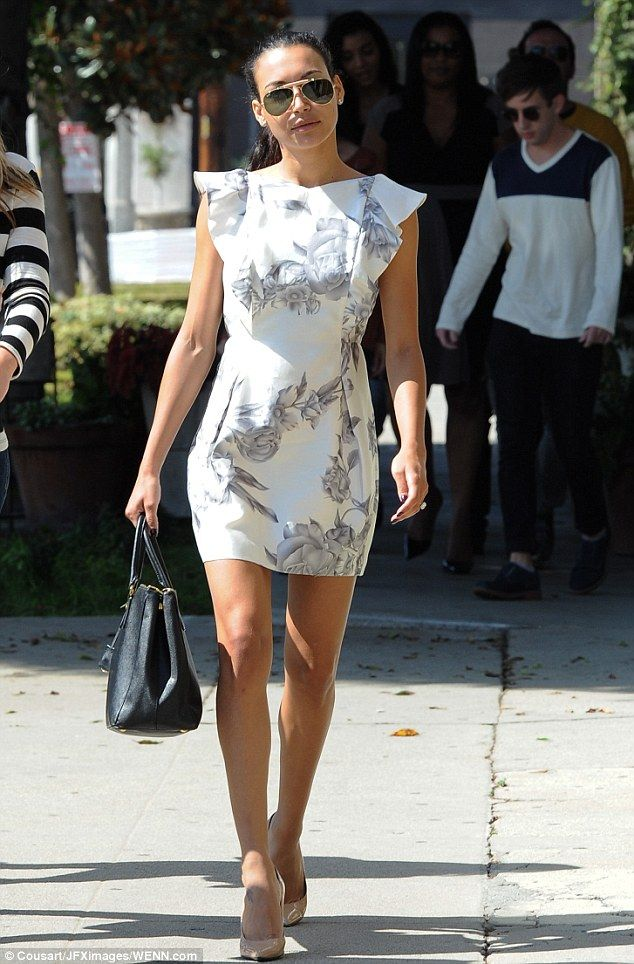 2051f265d49 Naya Rivera looks chic in a fitted dress as she heads to the shops to  choose a dress for her big day   Click for more pics