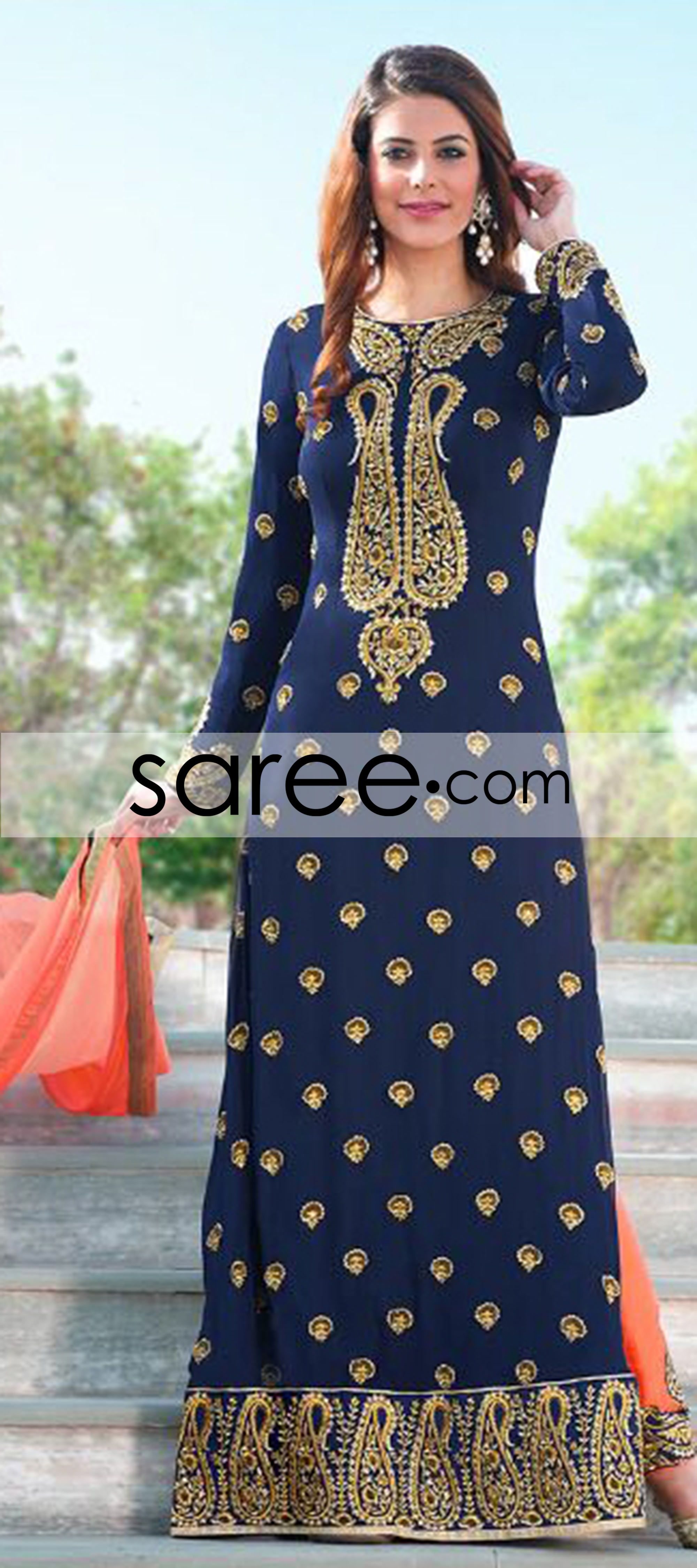 Blue georgette suit with zari embroidery work wearing