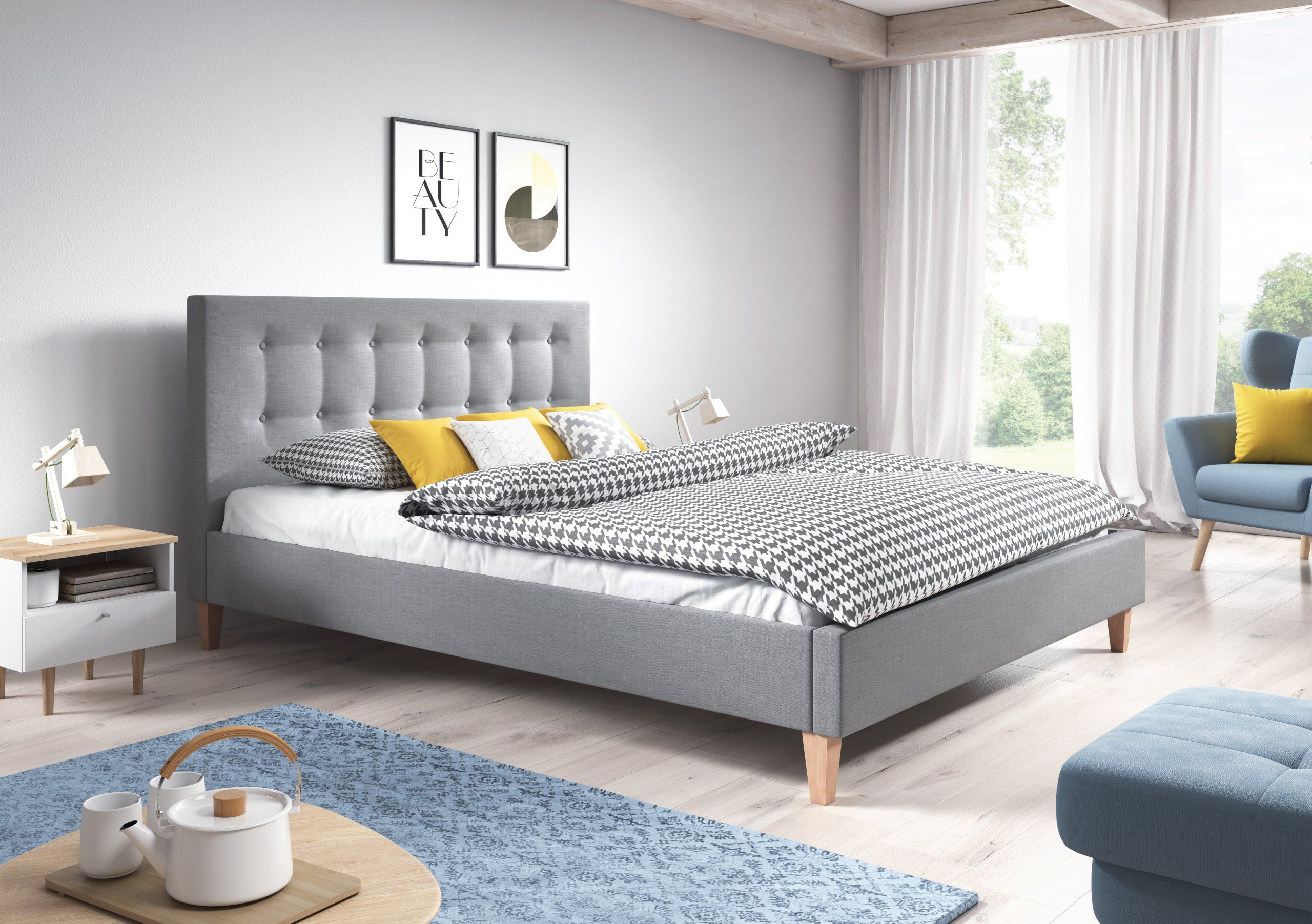 łóżko Tapicerowane Dawid 180x200 Z Materacem Irys