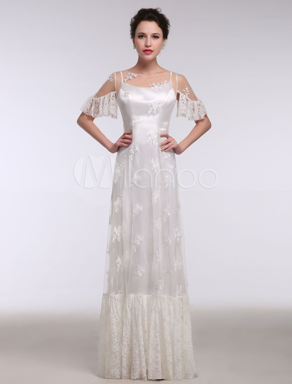 Bridal gowns for beach weddings  Summer Wedding Dresses  Boho Beach Lace Illusion Ruffle Short