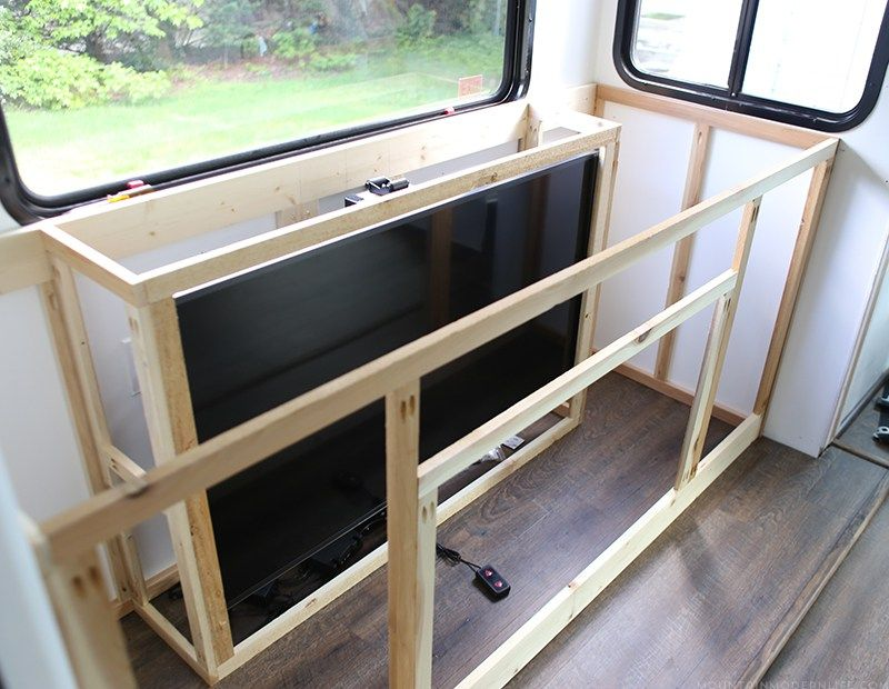 installing a tv lift and electric fireplace inside our rv tiny house livingrv cabinetsrv