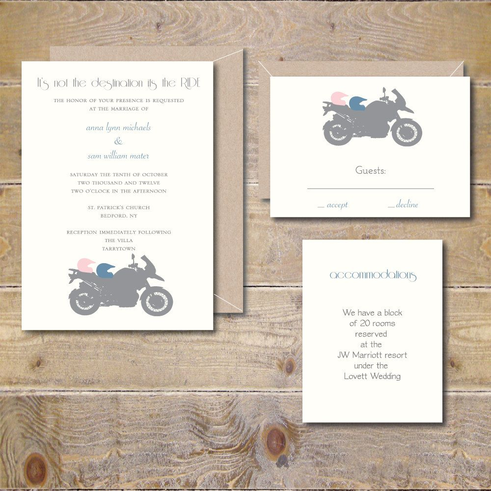 Motorcycle Wedding Invitations Motorcycles Wedding Invites Modern