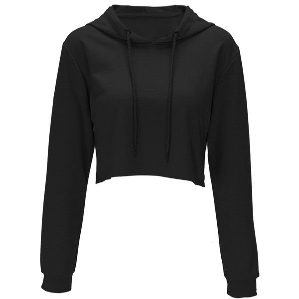 84eaeffd Black Solid Color Drawstring Hooded Crop Sweatshirt ($12) ❤ liked on  Polyvore featuring tops, hoodies, sweatshirts, black, crop top, cut-out  crop tops, ...