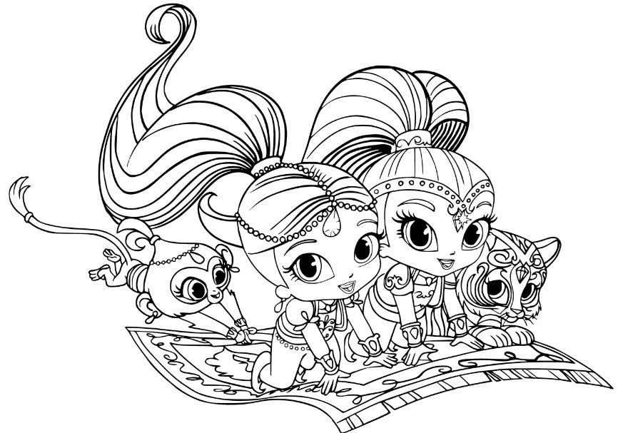 Shimmer and shine coloring pages for kids