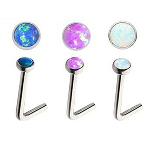 Lots of 3pcs 20g Stainless Steel Sparkle Opal Cabochon No...