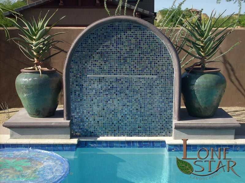 Swimming Pool Fountain Ideas jacuzzi Pool Water Feature With Blue Glass Tile And Decorative Concrete Caps In Fountain Hills Az
