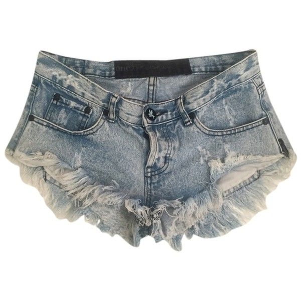 Pre-owned One Teaspoon Bonitas Columbo Jean Denim Frayed Cut Off... ($115) ❤ liked on Polyvore featuring shorts, blue, cut off shorts, denim cut-offs, frayed denim shorts, blue denim shorts and blue shorts