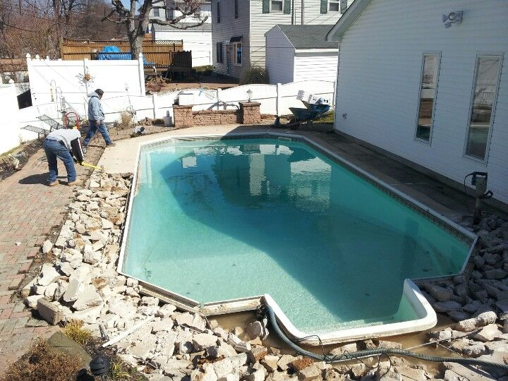 Beginning a vinyl liner pool remodel. Replacing the existing ...