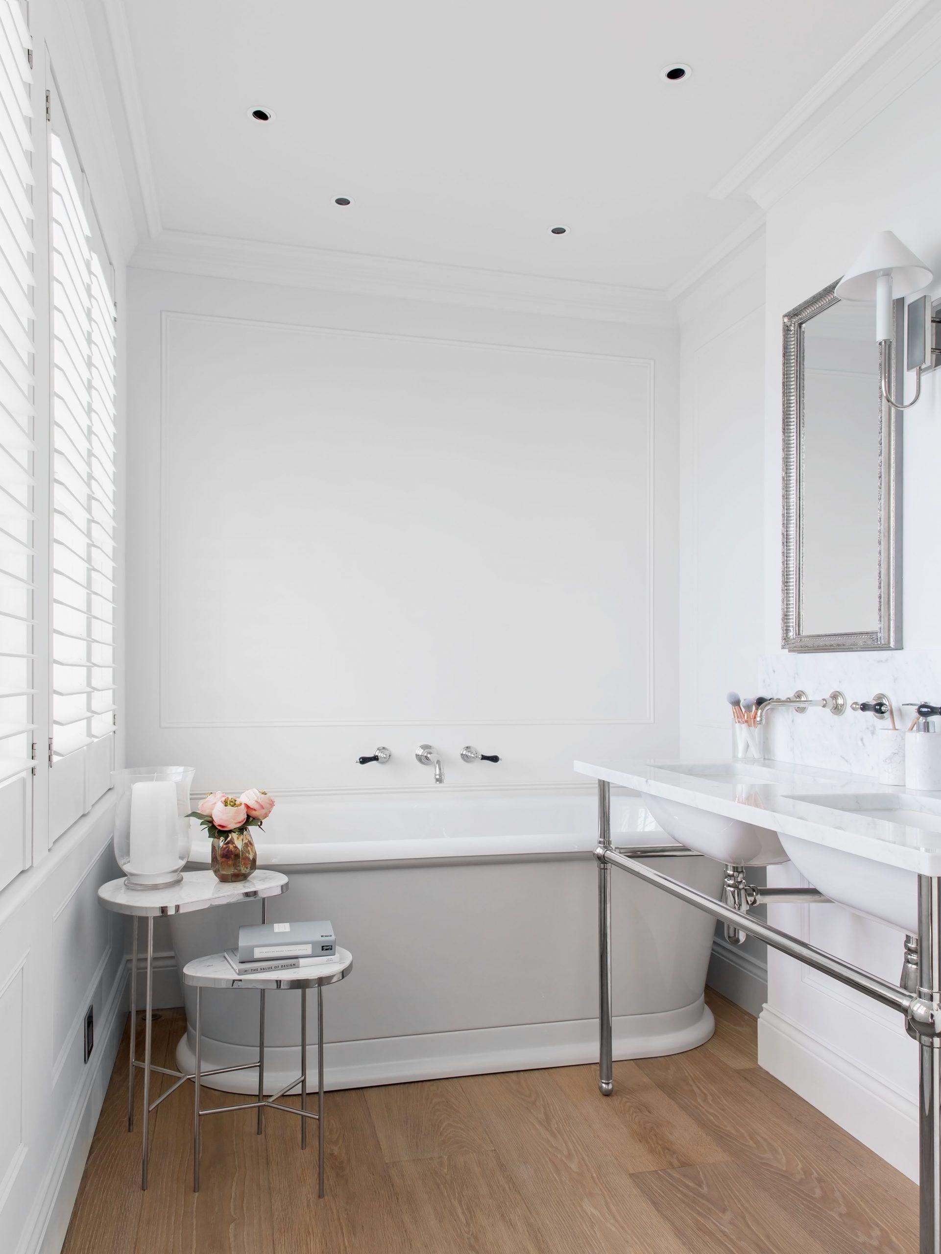 White Nickel Finish Large Bath Tub Bathroom Side Table