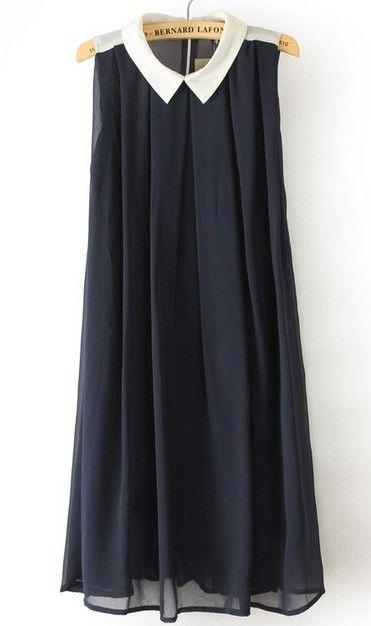 Navy Lapel Sleeveless Pleated Chiffon Dress