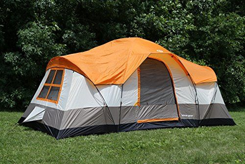 Tahoe Gear Olympia 10-Person 3-Season Tent, Orange/Ivory. For product & price info go to:  https://all4hiking.com/products/tahoe-gear-olympia-10-person-3-season-tent-orangeivory/