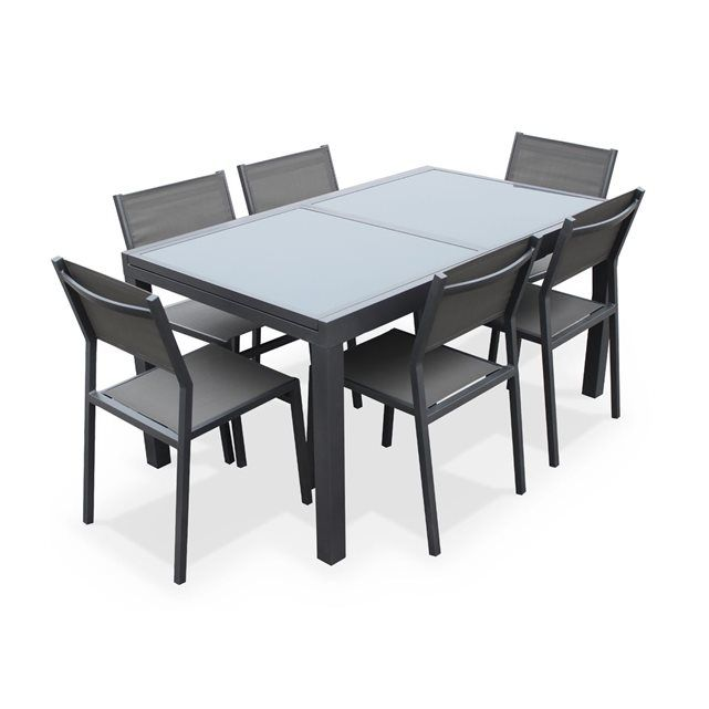 salon de jardin 6 chaises table rallonge extensible 150. Black Bedroom Furniture Sets. Home Design Ideas