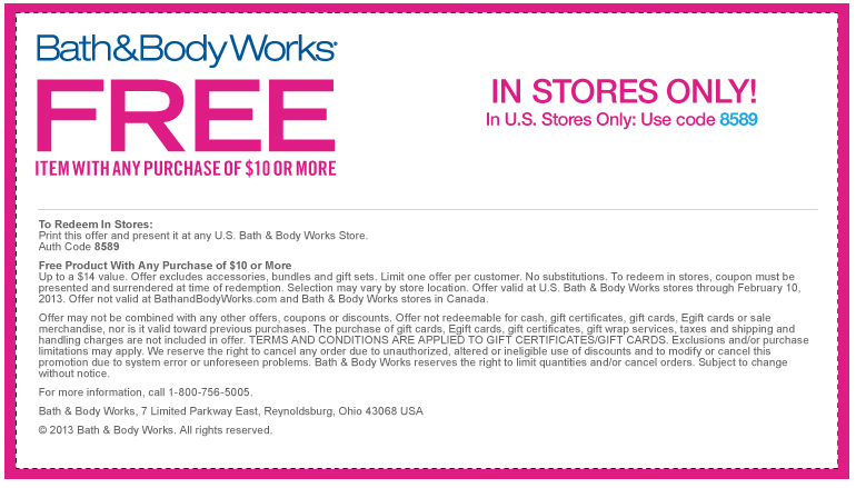 bath and body works coupon and free shipping