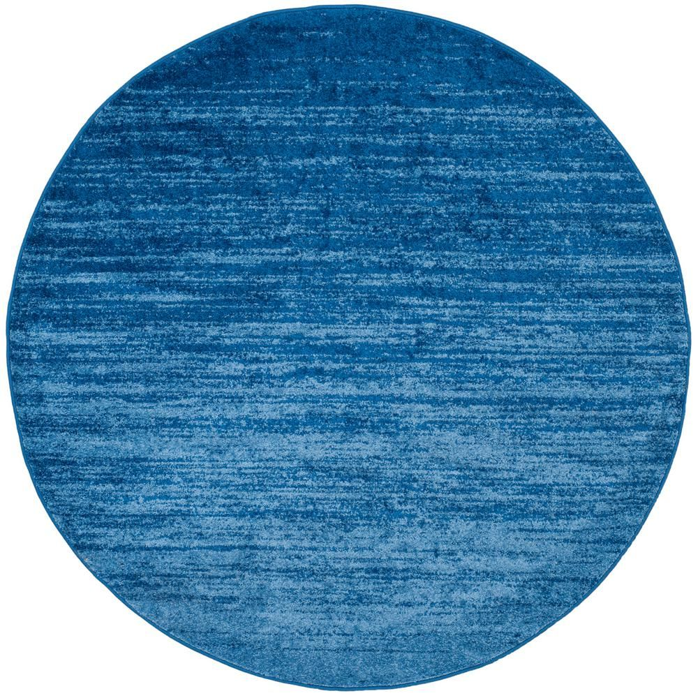 Adirondack Light Blue/Dark Blue 8 Ft. X 8 Ft. Round Area Rug
